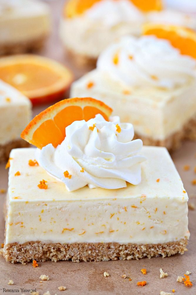 Summer in a bite, these orange dreamsicle pie bars are packed with orange flavor from freshly squeezed orange juice and grated orange rind! Forget the orange flavored jello, these orange dreamsicle pie bars taste so much better!