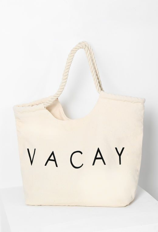 Resort Life Cream Vacay Beach Bag | Pink Boutique