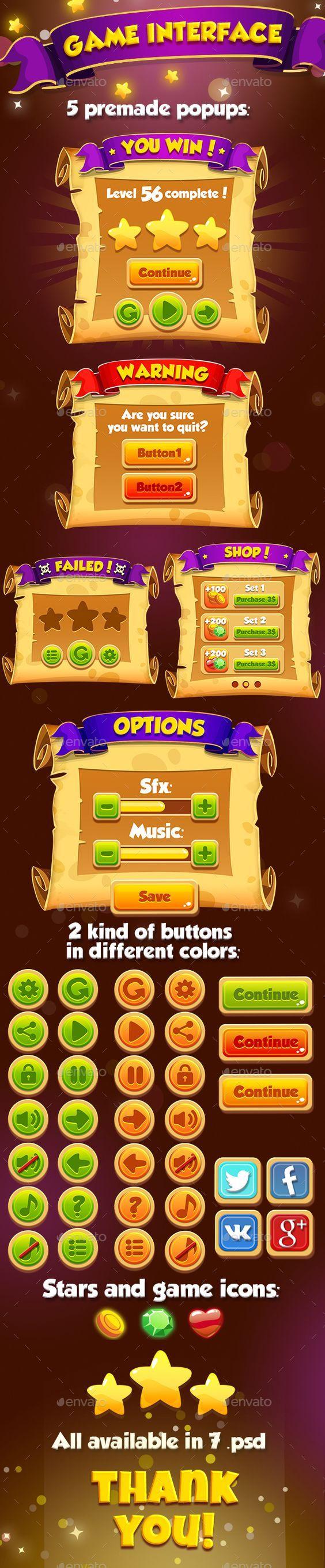 Cartoon Manuscript Game UI Kit! (User Interfaces):