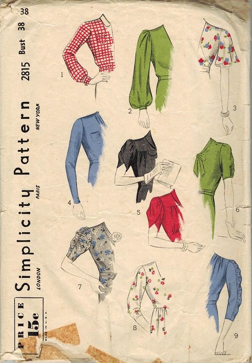 Simplicity 2815 - late 1930s sleeve pattern. #vintage #1930s #sewing_patterns. Just sleeves!