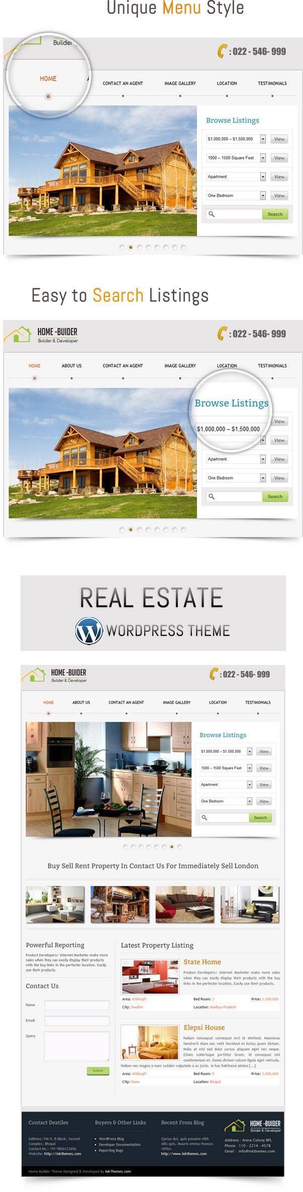 Price $45 HomeBuilder is a Premium Real Estate WordPress Themes with clean and simple interface.