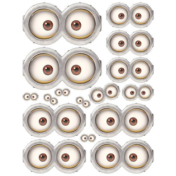 INSTANT DOWNLOAD Minion Eyes ( 5 sizes ) - for Balloon, Stickers, Lollipop, Favor bags, Cups - Minion Eyes birthday party - PRINTABLE on Etsy, $2.50