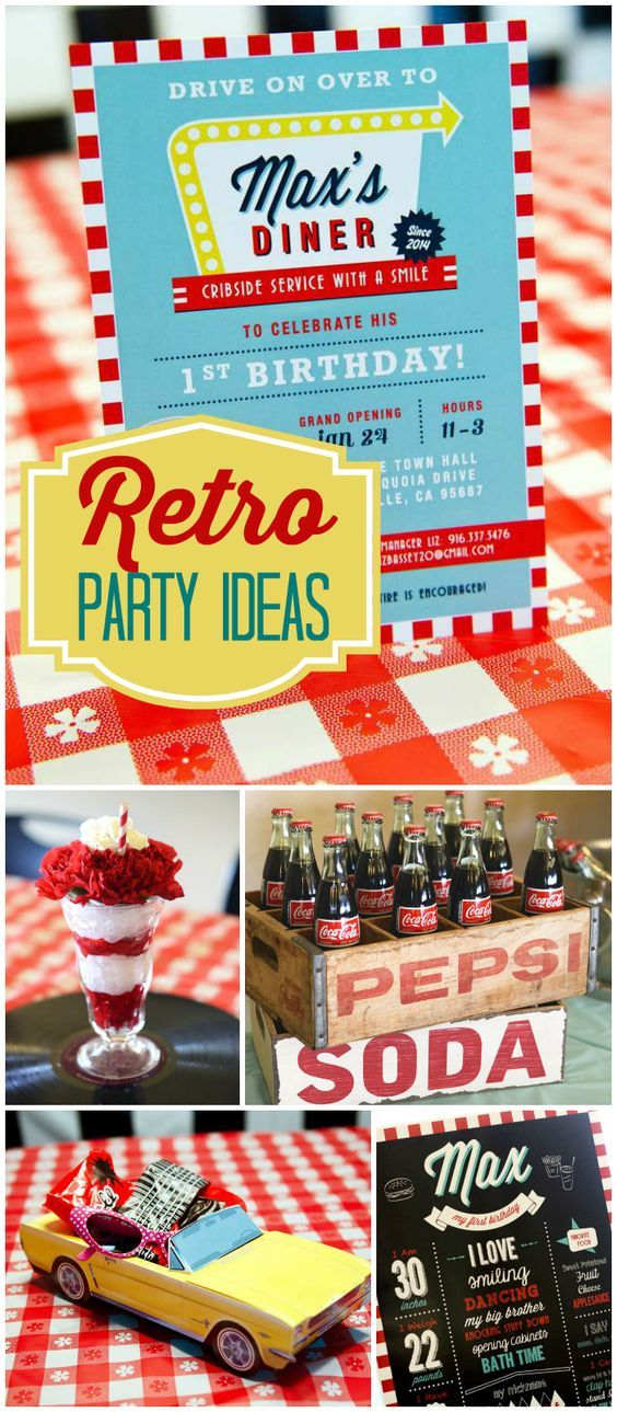 Check out this awesome retro party set up like a 50's diner! See more party ideas at CatchMyParty.com!