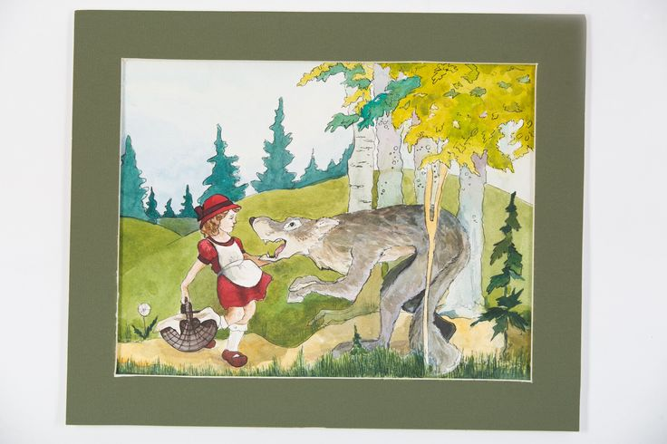illustration, red hat, wolf
