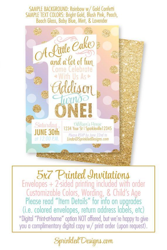 Girl First Birthday Invitation Card – Rainbow Unicorn Party Gold Glitter – A Little Cake – Big One Printed 1st Birthday Party Invites – SprinkledDesigns.com