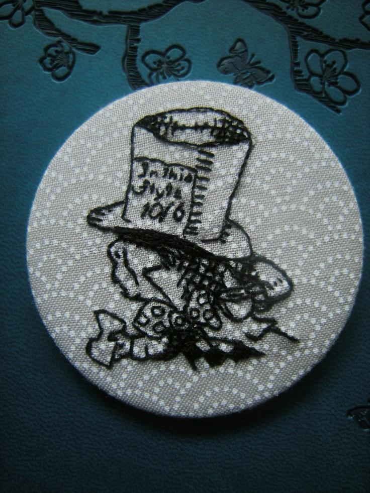 Mad Hatter 2 1/4 inch round badge