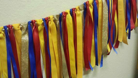 Superhero colors Ribbon Garland Superhero Birthday party decor Use as a backdrop or Photo Prop centerpiece Gorgeous colors with Gold Glitter Ribbon!