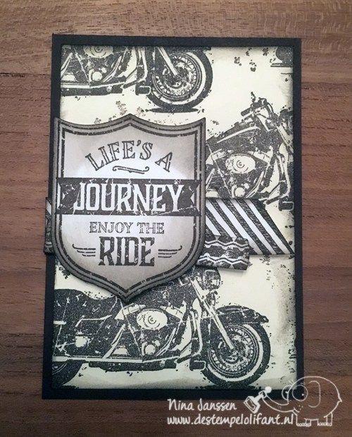 Swap voor On Stage- Motor kaart – One Wild Ride Stampin' Up! -De Stempelolifant