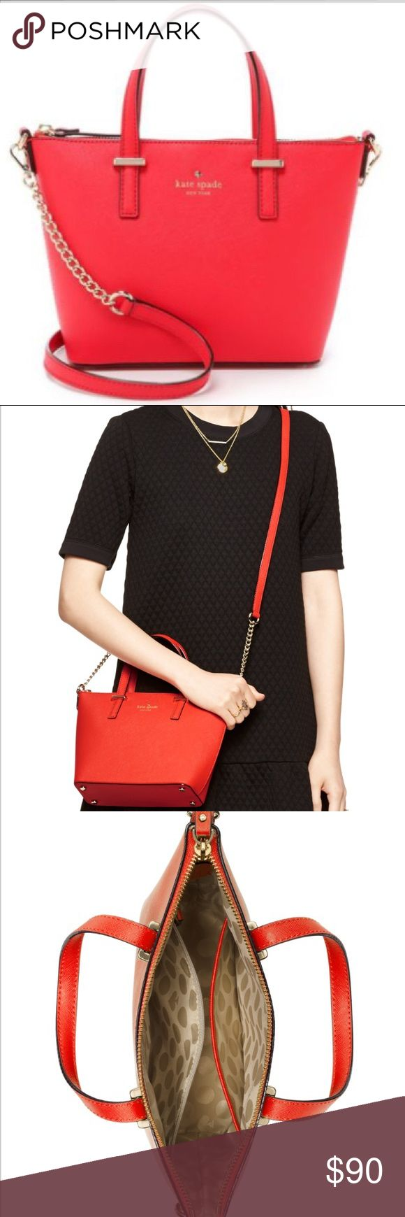 "NWT Kate Spade Cedar Street Harmony Crossbody Bag NWT Kate Spate Cedar Street Harmony Bag COLOR Cherry Liqeuer - vibrant red/orange color.  SIZE 7""h x 10.5""w at top x 3.25""d (this bag narrows in width from top 10.5"" to bottom 8"" drop length: 4"" handle, 22"" cross body MATERIAL crosshatch leather w/matching trim caroleena spade dot lining 14-karat gold plated hardware style # pxru5975 DETAILS crossbody bag w/ adjustable strap and zip top closure interior zip & double slide pockets kate spade…"