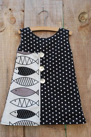 Girl's Wrap Dress in Black and White Dots, Gingham with Fish print and Shell buttons - Size 2T. $32.50, via Etsy.