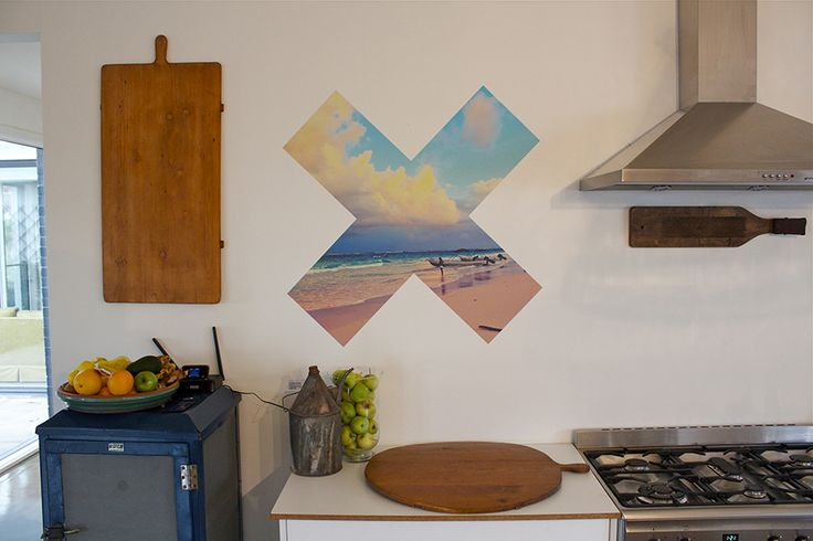 An X-shaped Moon Stamp in a kitchen.  To remember that sunset in Mexico...