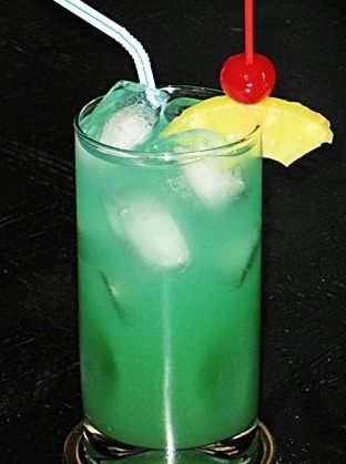 Bikini Blues: Malibu Coconut Rum, Pineapple Rum, Blue Curacao, Pineapple Juice, 7-Up