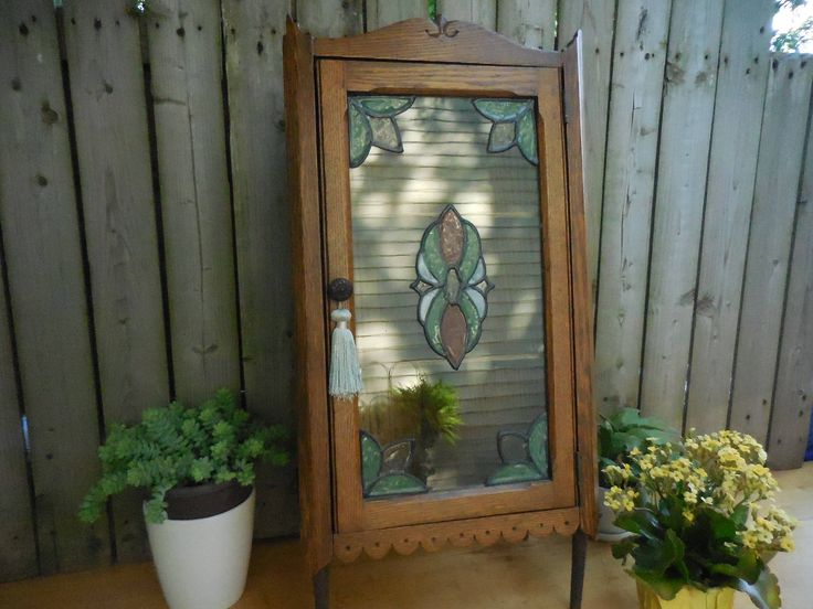 Vintage Oak Corner Cabinet with hinged front door by LadyNinaNana on Etsy