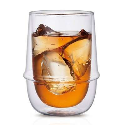 Kinto's Kronos glass series are fine double walled glasses are thermally insulated and equally at home with hot or cold drinks. The liquid appears to float in the air.