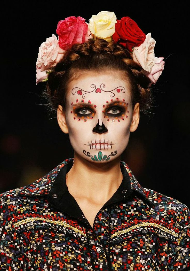 Acho Tendência | Giovana Quaglio Desfile Lena Hoschek - Mexican Skull - Fashion Week Berlin - Make Up