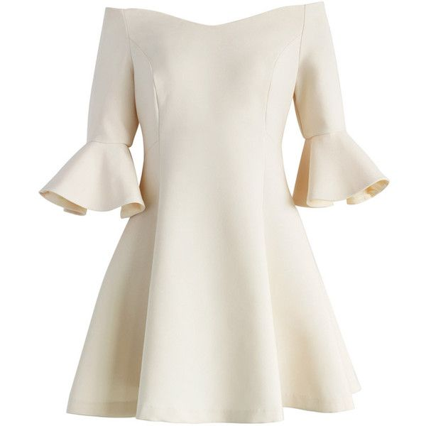 Chicwish Simple Elegance Off-shoulder Dress in Nude (170 BRL) ❤ liked on Polyvore featuring dresses, vestidos, beige, flare dress, flared dresses, beige dress, bell sleeve dress and white off the shoulder dress