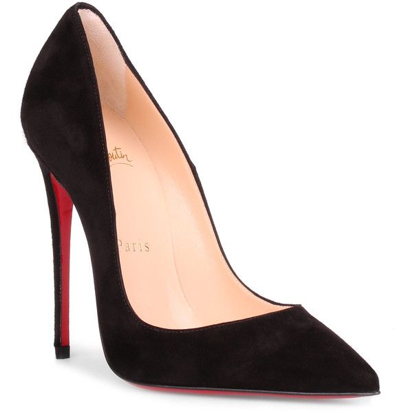 So Kate 120 Black Suede Pump ($650) ❤ liked on Polyvore featuring shoes, pumps, black, christian louboutin pumps, high heel stilettos, black pointed toe pumps, high heel pumps and black stiletto pumps