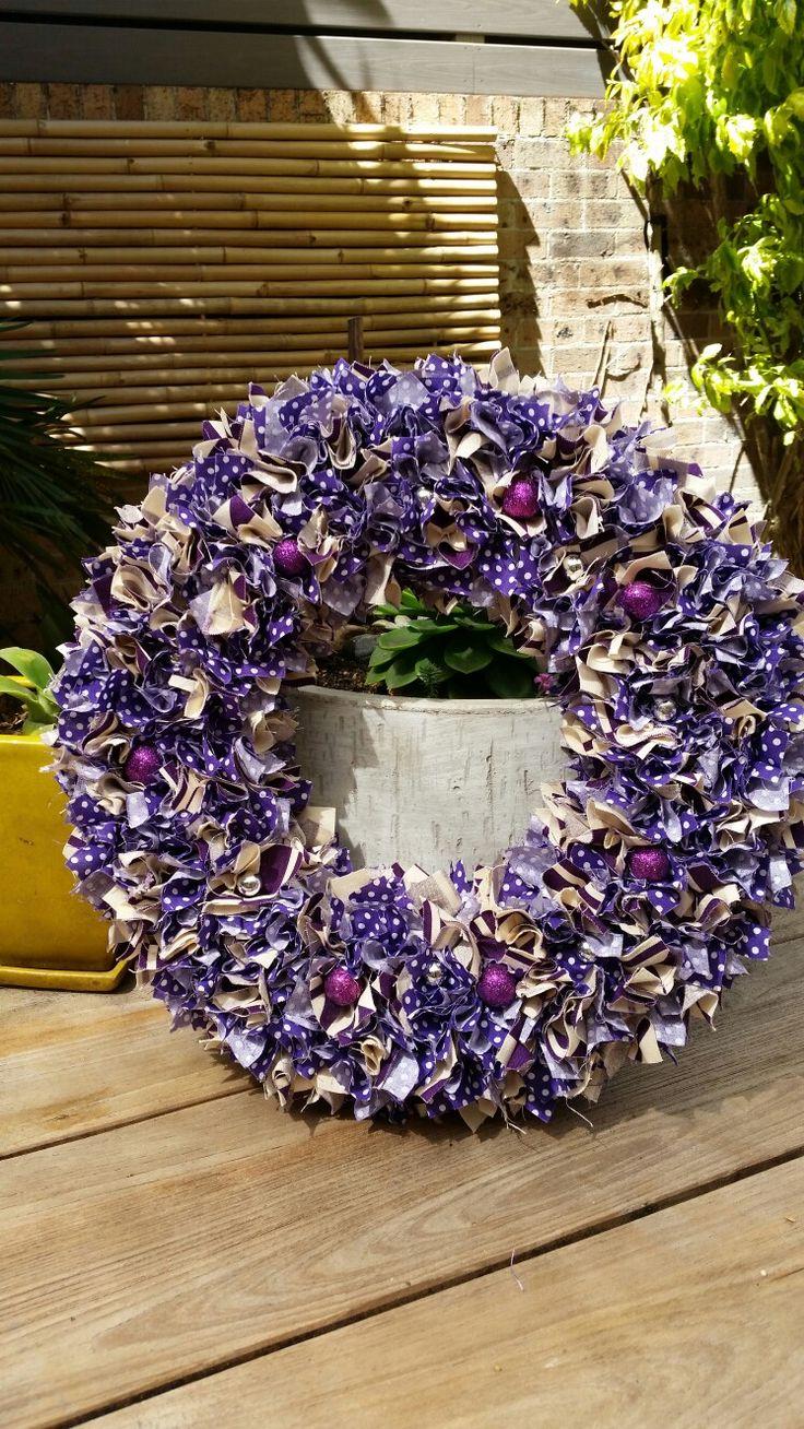 """14"""" Purple, Aubergine & Cream Xmas Wreath with small purple glitter balls"""
