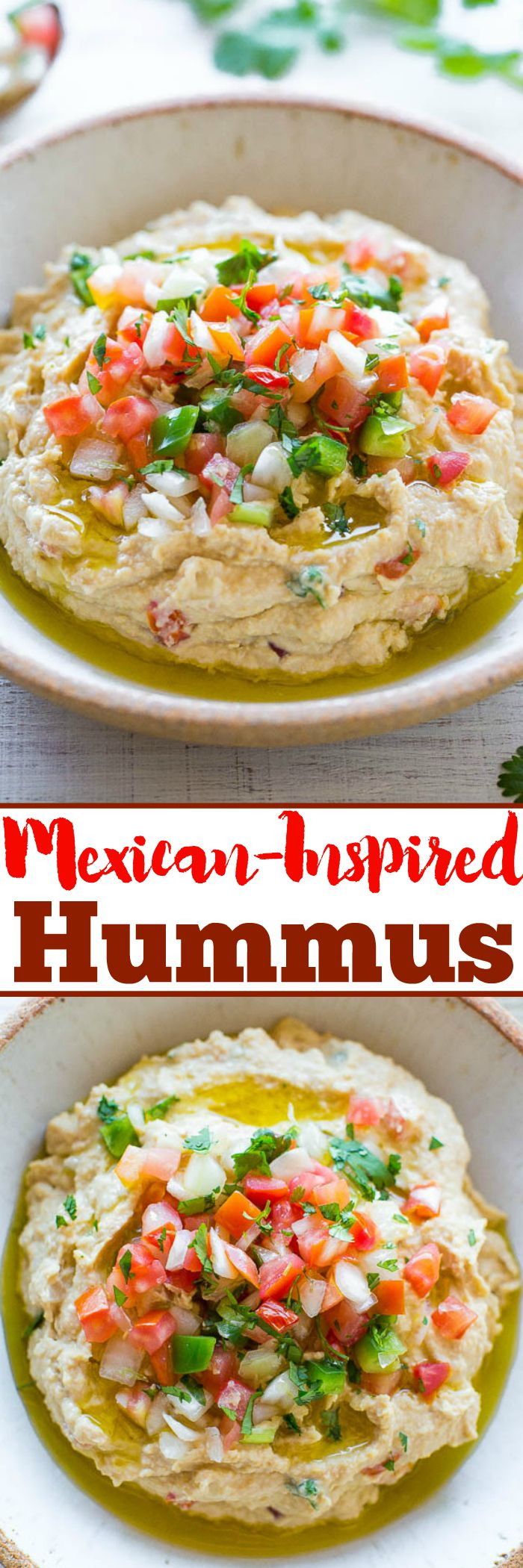 Easy Mexican-Inspired Hummus - Jazz up classic hummus with pico de gallo, cilantro, and you won't be able to stop digging into it with tortilla chips!! Easy, healthy, ready in 5 minutes, and a perfect snack that everyone loves!! Great starter to your dinner!