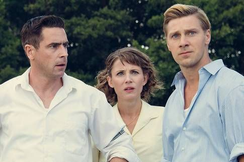 """If you don't know what Maria Lang is about, you can get a wonderful sneak peak by finding out series of six movies of her detective stories, that run under name """"Crimes of passion"""" in English. The central figures in the pic, Puck Bure/ Eksted (Tova Novotny), detective Christer Wijk (Ola Rapace) and  Einar Bure (Linus Wahlgren)."""