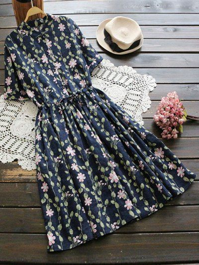 SHARE & Get it FREE | Floral Print Drawstring Flare Dress - Deep Blue One SizeFor Fashion Lovers only:80,000+ Items • New Arrivals Daily Join Zaful: Get YOUR $50 NOW!