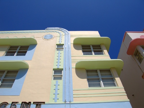 Art Deco building in Miami- This building reminds me of the beach, with the constrasting pastel colours, and relaxed appearance. The use of line is visible along the corner of the building, and also the vertical line which curves at the top- this softens the sharp edge of the top.