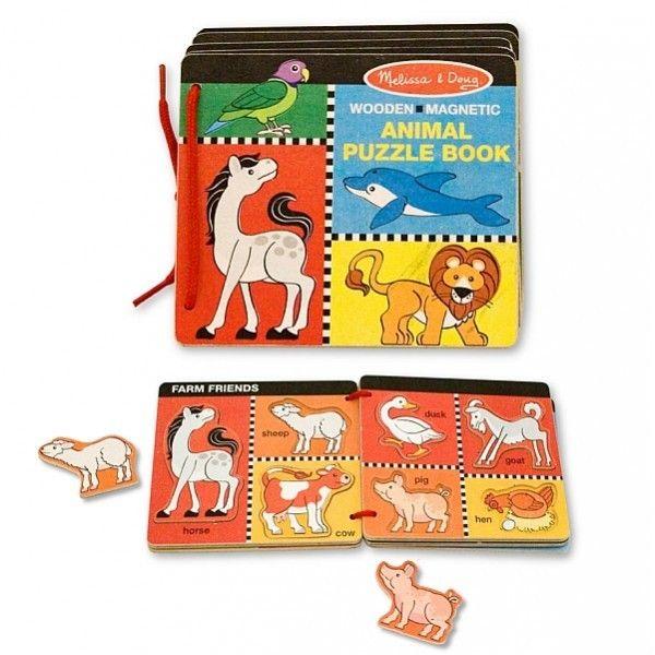 Jucarie cartea din lemn cu animale magnetice
