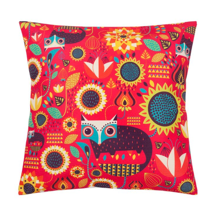 Buy Fox In The Garden Red Cushion Cover Online - Chumbak