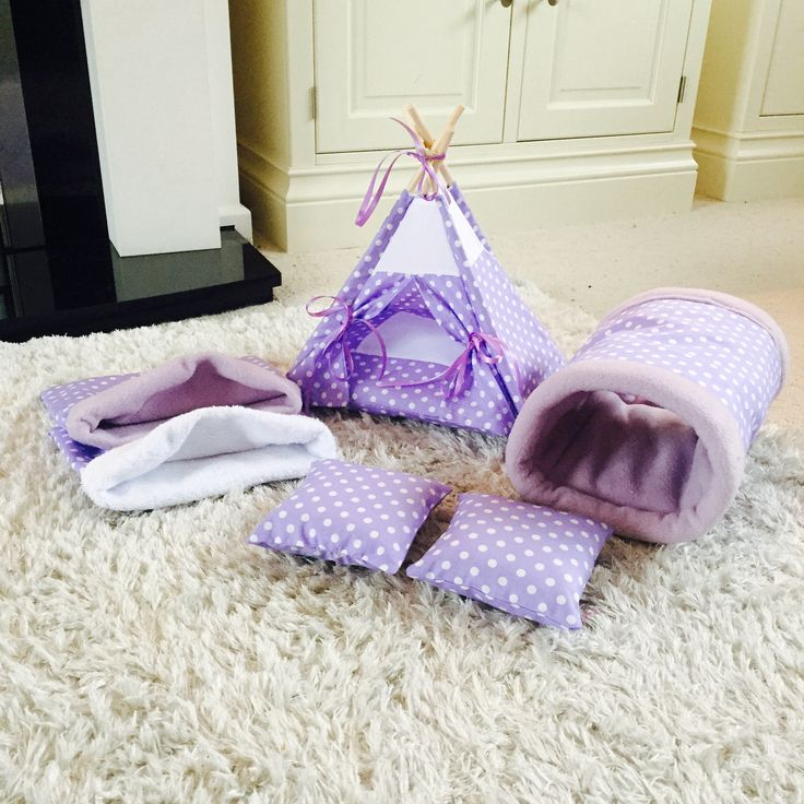 Cage set. Lilac Spot Cage Set. Cosy Pet Teepee, Tunnel, Snuggle Sack, Post Bath Sack, 2 FREE Pee / Bottle Drip Pads, Hedgehog House. by PetTeepeesAndBedding on Etsy