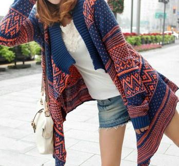 PARIS & PROVENCE Blue Boho Hippie Fair Isle Sweater/Cardigan CHELSEA VERDE OS