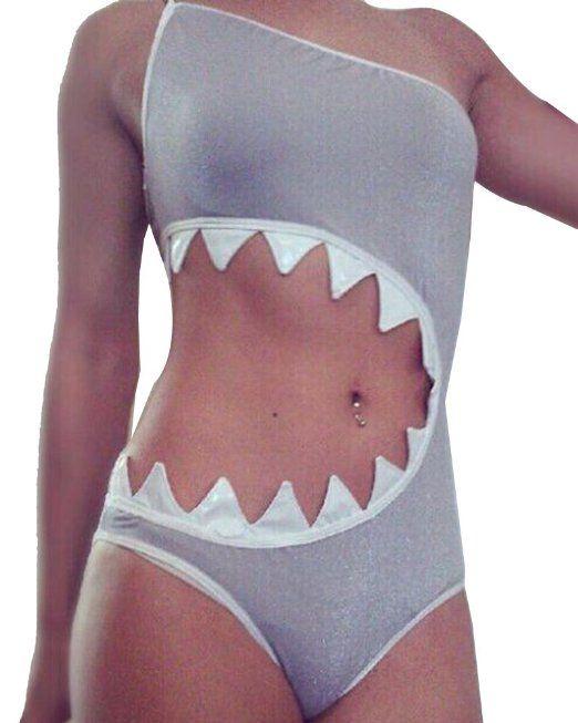 Moollyfox Progettazione Vita Bocca Dello Squalo Swimsuit Swimwear Beach Un Piece Costumi Da Bagno Delle Donne S Squalo EURO 13,69
