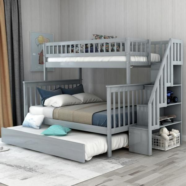Harper Bright Designs Grey Twin Over Full Stairway Bunk Bed With