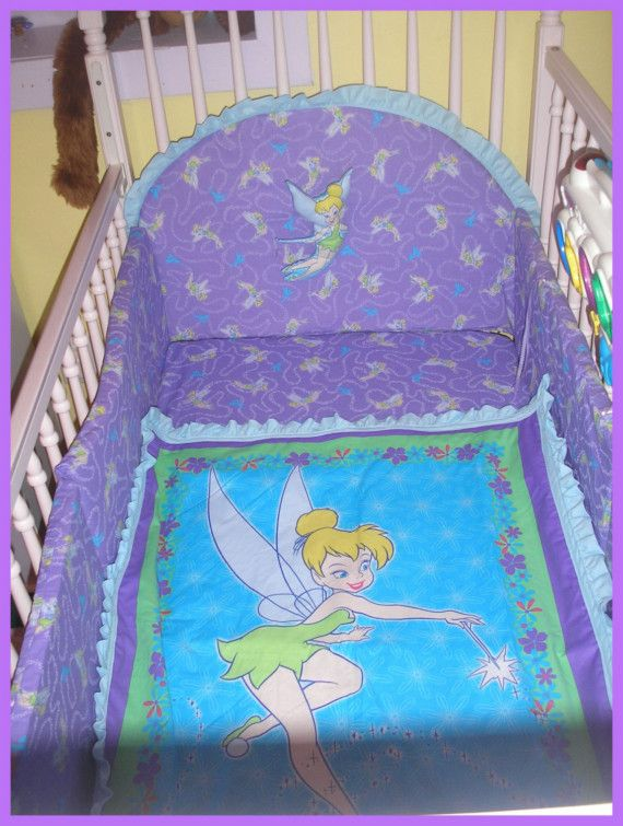 Tinkerbell New Full Crib Bedding Set With 7 Pieces Crib