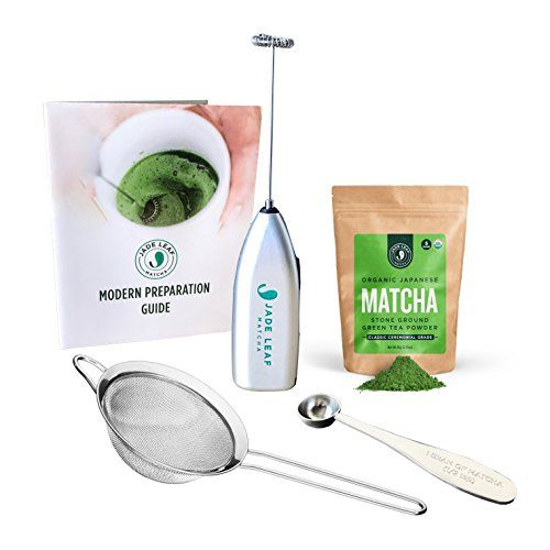 Jade Leaf - Modern Matcha Starter Set - Organic Ceremonial Grade Matcha Green Tea Powder, Electric Frother, Stainless Steel Scoop, Stainless Steel Sifter, Preparation Guide >>> To view further for this item, visit the image link.