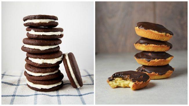 Proteinové oreo sušenky, piškoty pokryté vrstvou čokolády a plněné ovocným džemem, cookies s kousky čokolády,milionářské sušenky a