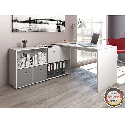Computertisch Schreibtisch Winkelschreibtisch Eckschreibtisch Bürotisch Weiß