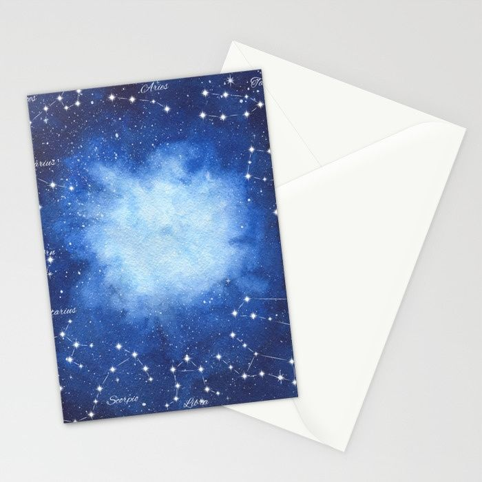 Cosmic Horoscope Stationery Cards #space #zodiac #signs #horoscope #universe #galaxy #nebula #stars #constellations #watercolor #painting #night #buy #buyonline #shopping #giftidea #present #cosmic #cosmos #society6 #stationery #postcard #cardsforsale