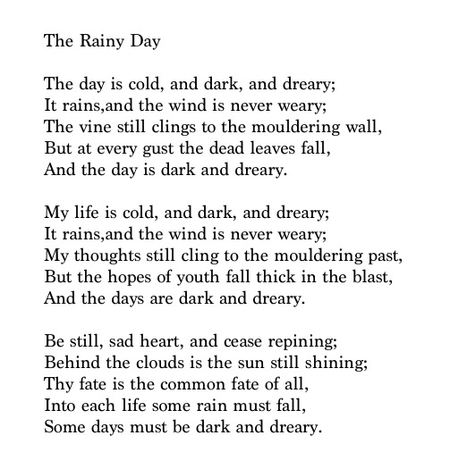 an analysis of the poems a psalm of life the village blacksmith and the rainy day by henry wadsworth Find this pin and more on literature - henry wadsworth rainy day quotes rainy weather quotes winter quotes rainy day poem the village blacksmith by henry.