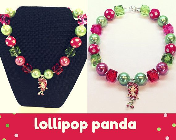 Bubblegum necklace Chunky bead necklace Strawberry Shortcake