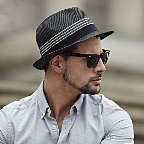 1625ed127f3 Fashion striped panama hat for men package black straw sun hats ...
