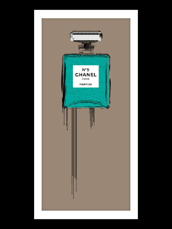 28accedb7fc Coco Chanel liquidated bottle nr5 - print art poster - dripping paint  artwork - number five drip.