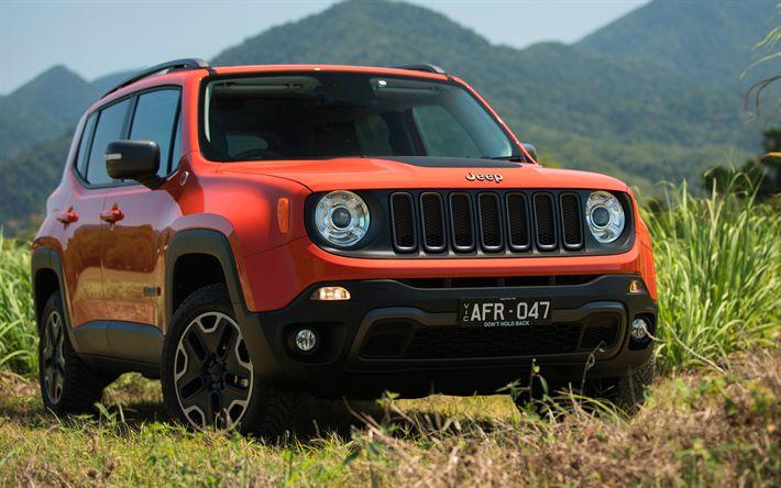 Download wallpapers 4k, Jeep Renegade, offroad, 2018 cars, SUVs, orange Renegade, Jeep