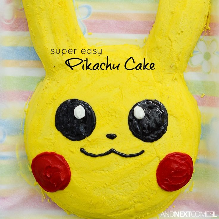 How to make a Pikachu birthday cake for a Pokemon themed birthday party from And Next Comes L