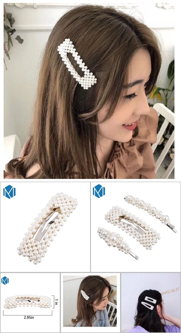 417ce040cd M MISM Full pearls Hair Clips for Women Fashion Sweet Imitation ...