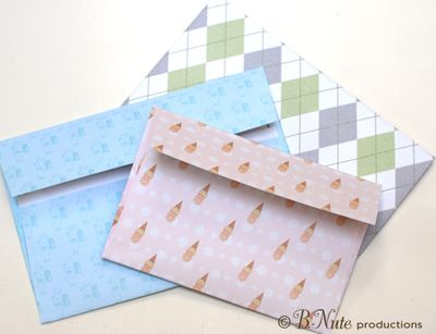Envelopes (including printable envelope templates) printed with digital scrapbook papers - from B.Nute productions