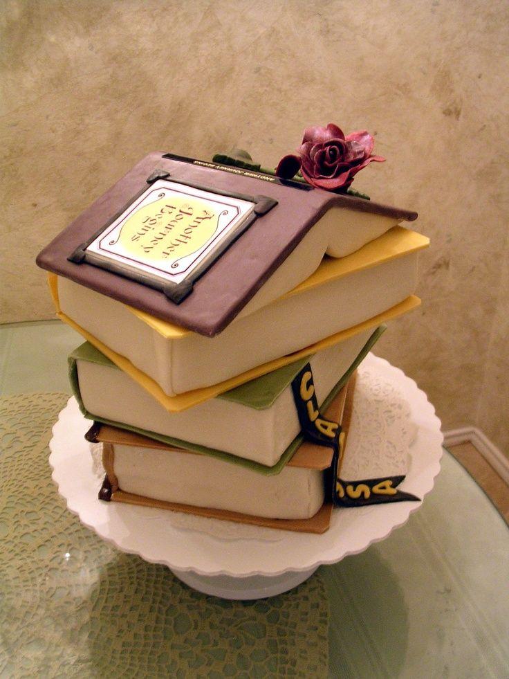 """Stack of Books"" cake"