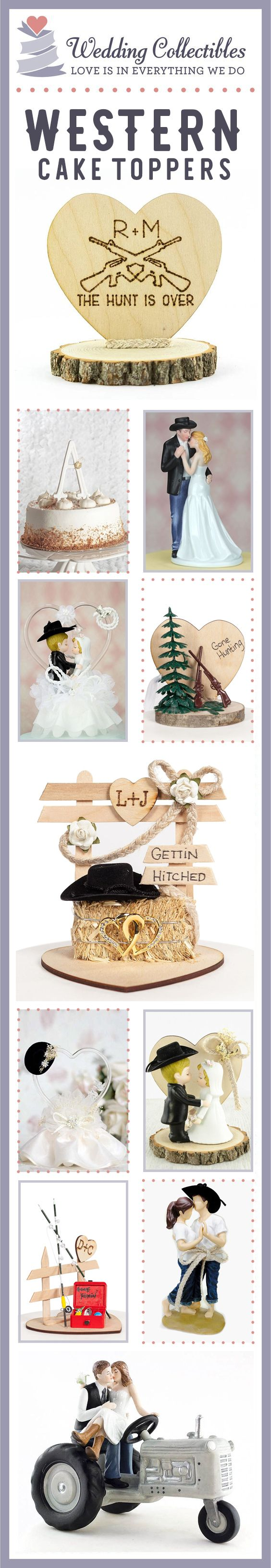 Find the perfect cake topper for your special day. Browse our unique and customizable rustic & western themed wedding cake toppers! View more here: http://www.weddingcollectibles.com/Western/