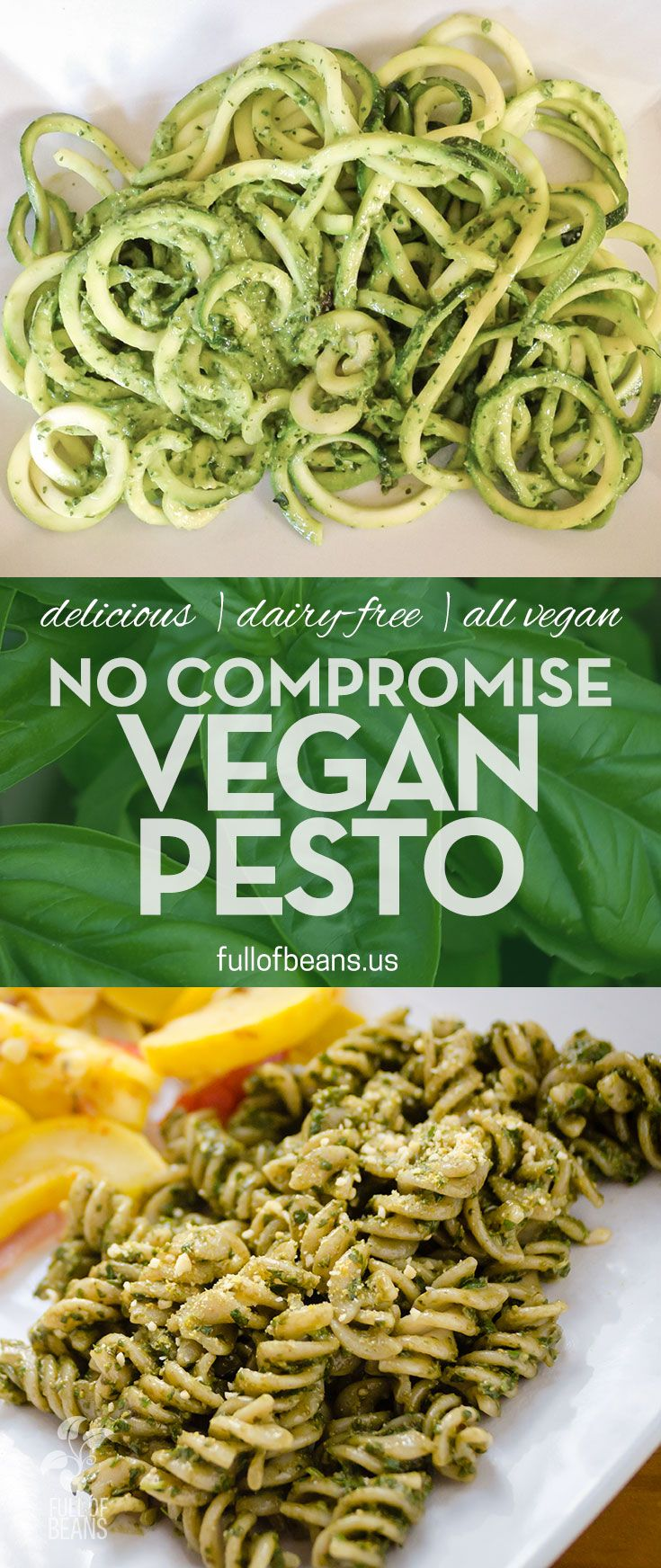 This no-compromise vegan pesto recipe is inspired by traditional pesto and offers all the same tastes and texture, but cruelty-free and without any saturated fat. That's right – healthy pesto! Recipe at fullofbeans.us! #pesto #vegan #pasta
