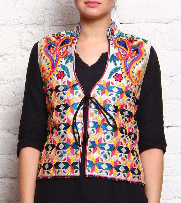 Multicoloured Phulkari Embroidered Khadi Cotton Jacket