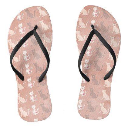 Cat Silhouette Pattern on Brown Flip Flops - patterns pattern special unique design gift idea diy